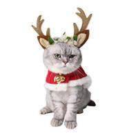 sombrero decoración de cabello al por mayor-Al aire libre Hairpin Pet Hair Band accesorio Merry Christmas Dog Hat Decoración del gato Mori Girl Celestial Deer Head Hoop 16 5gy gg
