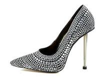 seksi kulüp pompa ayakkabıları toptan satış-Gümüş Çivili Perçinler 12 CM Yüksek Topuklar Ayakkabı Seksi Sivri Burun Gece Kulübü Kadın Ayakkabı Metal Topuklar Slip-On Kadın Pompaları