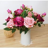 ingrosso decorazioni di fiori artificiali per matrimoni-6pcs alta imitazione artificiale rosa fiori artificiali per matrimoni decorazione della casa decor tavolo fiori finti flores artificiales