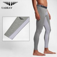 Wholesale Tights Spandex Male - UABRAV Men's Bodybuilding Tights Mens Compression Pants Pants Running Tights Male Sports Tight Trousers Sport Men Trousers