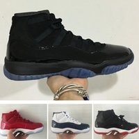 Wholesale woman boots 11 - With box 11s Prom Night mens basketball shoes Midnight Navy Gym Red Patent leather Nylon 11 women Outdoor athletic basket boots size 36-47