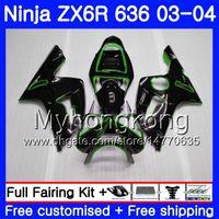 kit carenado kawasaki zx6r verde al por mayor-Cuerpo para KAWASAKI NINJA ZX-636 ZX 636 6 R 600CC ZX 6R 03 04 211HM.32 ZX600 ZX636 ZX6R 03 04 ZX-6R 2003 2004 Green line blk top Kit de carenado