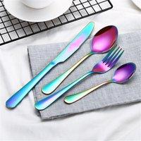 ingrosso forchette occidentali-Posate colorate Coltello da tavola in acciaio inox posate coltello forchetta cena occidentale cibo posate 5 set