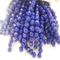 граненые ожерелья из бисера оптовых-145Beads / 4MM 98Beads / 6MM 70Beads / 8MM Blue Rondelle Грановитая Керамические Стеклянные Хрустальные Бусины Для DIY Ювелирных Изделий Ожерелья