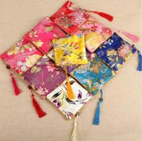 sac traditionnel chinois achat en gros de-11.5x11.5CM sac de bijoux, sac cadeau, pochettes à bijoux, couleur mélangée, sac en soie motif de fleur sac à fermeture à glissière style traditionnel chinois