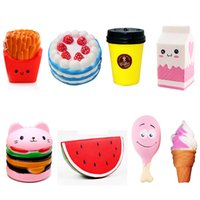 Wholesale foam coffee - Squishy Collection 8pcs Slow Rising Bread Scented Squishies Glitter Foam Cute Cartoon Kawaii French Fries Coffee Hamburger Squishy Toys