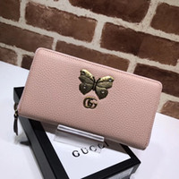 Wholesale cowhide wallet zipper online - Top Quality Celebrity design Letter Butterfly insect Metal Buckle Zipper wallet Long Purse Cowhide Leather Clutch