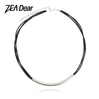 Wholesale Leather Necklaces For Men Chokers - ZEADear Jewelry Fashion Jewelry 2017 Steel Choker Necklace Round Leather Rope Chain For Men Women For Party Wedding Anniversary
