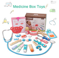 Wholesale doctor play set toys - Wooden toys Funny play Real Life Cosplay Doctor game toy Dentist Medicine BoxPretend Doctor Play 20PCS Set For Children