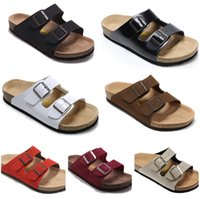 Wholesale Light Yellow Sandals - Free Shipping 2018 birkenstock Women and men Arizona sandals Flat Sandals Platform, Casual Beach Slippers(with box)