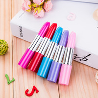 Wholesale color ball point pens resale online - Cute Lipstick Ball Point Pens Kawaii Candy Color Plastic Ball Pen Novelty Item Stationery Free DHL