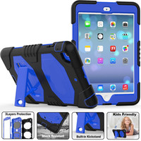 Wholesale Silicone Ipad Stand - Three Layer Heavy Duty Impact Soft Silicone Hard Bumper Full body Protective Case With Stand For New iPad 2017 9.7 Pro Air 2 Air2 Mini 3 4