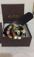 Wholesale Colorful Jeans - High quality designer belts men Jeans belts 2 styles Cummerbund belts For men Women Colorful crystal Metal Buckle with box as gift