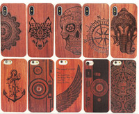 Wholesale Carved Bamboo - Genuine Wood Case For Iphone X 6 7 8 Hard Cover Carving Wooden Phone Shell For Apple Iphone 7 Plus Bamboo Housing Luxury S9 Retro Protector