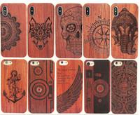 ahşap kasa toptan satış-Iphone xs max xr için hakiki ahşap case 6 7 8 artı sert kapak oyma ahşap telefon kabuk için iphone bambu konut lüks s9 retro koruyucu