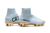 zapatos de fútbol al por mayor-Botines de fútbol CR7 en oro blanco Mercurial Superfly FG V Kids Soccer Shoes Cristiano Ronaldo