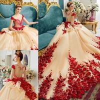applique quinceanera braut ballkleid großhandel-3D Applique handgemachte Blumen Ballkleid Quinceanera Kleider Luxus Prom Abendkleid Prinzessin Pageant Kleider Brautkleider Birthday Party Gown