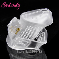Wholesale chastity device plastic lock - SODANDY 2018 Male Chastity Devices Mens Cock Cage Plastic Penis Locking Restraints Penisring Chastity Belt With 3 Cock Ring