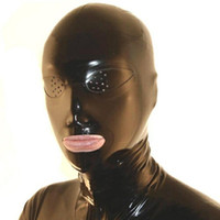 Wholesale fetish rubber hood - 100% Pure Latex Hoods open Eyes with Mesh Rubber Fetish Mask Cosplay Party Wear Handmade Costumes