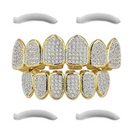 Wholesale hip hop teeth - 24K Gold Plated Hip Hop Grillz Top And Bottom Grills For Mouth Teeth 2 EXTRA Molding Bars Every Style