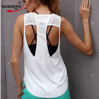 Wholesale womens running tanks - Womens SEXY Sport Shirts Yoga Tops Sleeveless Vest Fitness Running Clothes for Female Breathable Tank Tops Running Ves G-506