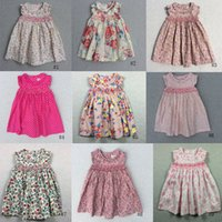 Wholesale Smoking Children - Girls Baby Smoking Dresses Children Flower Dress With Printed The Little Baby Girls Clothing 2018 INS Girls Outside Dresses Fast Shipping