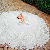 Wholesale Lace Crystals For Dresses - 2018 Gorgeous White 2014 Wedding Dresses Beading Crystal Tulle Ball Gowns Bridal Dresses Gowns for Bride Cathedral Train Applique Custom New