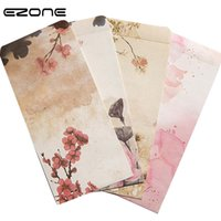 винтажные письма оптовых-EZONE Chinese Classical Style Envelope Printed Cute Ink Wash Painting Vintage Message Card Leer Stationary Storage Paper Gift