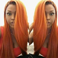 Wholesale Black Orange Wig - T1b Orange Ombre Full Lace Human Hair Wigs For Black Women Cheap Two Tone Brazilian Straight Virgin Hair Lace Front Wigs Natural Hairline