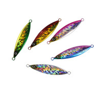 Wholesale slow jig lures online - 80g Slow Jigging Lures Baits Laser Metal Pesca Fishing Flutter Jig Tackle For Outdoor Sports cm Length Many Colors hh ZZ