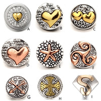 ingrosso collana diy della collana-Classic Heart 18mm Snap Button Oro rosa oro metallo Snap Croce Arrow Chunks DIY Ginger Snap Button Charms Bracciali Collana gioielli