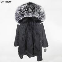 Wholesale women s raccoon fur jackets resale online - OFTBUY Winter Jacket Women Real Fur Coat X long Parka Natural Raccoon Fur Collar Hood Real Fox Fur Inside Streetwear Brand