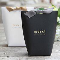 mücevherat pişirme toptan satış-100pcs Merci size yay alışveriş hediye çantası Festivali Partisi ile hediye karton pişirme takı karton kağıt torba teşekkür 13.5X16.5cm DHL besler
