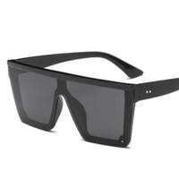 ingrosso marche uniche di occhiali da sole-oversize flat top sunglasses women 2018 unique mens occhiali da sole di marca scudo occhiali da sole grandi tonalità quadrate