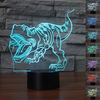 Wholesale colorful modern bedding resale online - Abstractive D Optical Illusion Abstract Dinosaur Colorful Lighting Effect Touch Switch USB Powered LED Decoration Night Light Desk Lamp