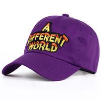 kap pamuklu mor pamuk toptan satış-VORON 2017 yeni Mor Çok Renkli Farklı Bir Dünya Baba Kap erkek kadın Pamuk beyzbol şapkası Kemik Snapback Trucker Şapka