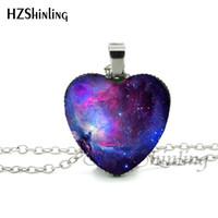 galaxie raum halskette großhandel-NHT - 00101 New Galaxy Nebula Herz Halskette Raum Universum Herz Anhänger Schmuck Galaxy Heart Shaped Halskette Anhänger