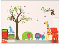 Wholesale giraffe sheets - Drop ship Acceptable Monkeys Owls Giraffe Childrens Wall Art Stickers Huge Sheets 60*90cm