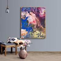 lienzos coloridos al por mayor-Pinturas del arte abstracto contemporáneo moderno abstracto rojo y dorado Impresión en lienzo Pintura al óleo Arte de la pared Sala de estar Sin marco