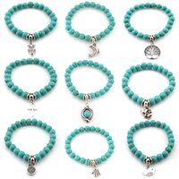Wholesale turquoise elephant bead - drop ship Natural Stone Turquoise Beads Bracelets Owl Elephant Tree of Life Cross Palm Charm Buddha Bracelet Bangle Cuffs for Women 162425