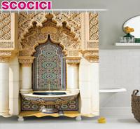 rideaux de douche vintage achat en gros de-Décor marocain Rideau de douche Vintage Building Design Logement islamique Art historique façade extérieure Mosaïque Image Polyester Fabr