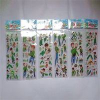 Wholesale sticker sheets girls - Hot Sale 20 Sheets lot 3D Puffy Bubble PVC Stickers Mixed Cartoon Mickey Cars Spiderman Waterpoof DIY Children Kids Boy Girl Toy