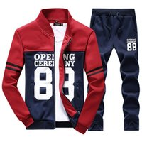 Wholesale period clothing online - 2018 men s clothing of the spring and autumn period and the new fleece printing collar stitching fleece suit two teenagers