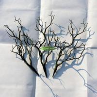 ingrosso albero artificiale falso-36 cm Pvc secco naturale Manzanita essiccati rami di piante artificiali di nozze casa mobili da spiaggia Decor Fake Foliage bianco marrone verde FL1732