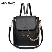 ingrosso zaini casual donna-WIKILEAKS Womens Backpack Shoulder Bags Borsa in pelle PU per donna Casual Borse Fashion Chain Ladies Street Bag Nero Rosso Grigio C07