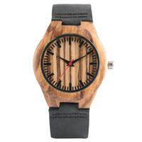полосатые женские часы оптовых-Новый повседневная Леди Qaurtz наручные часы Zebra Stripes деревянный чехол с черный натуральная кожа группа экономически эффективные женские часы подарки