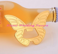 Wholesale butterfly bridal shower resale online - Pieces Wedding gifts for guests of Gold Butterfly Bottle Opener Favors for Bridal showers and Gold wedding souvenirs