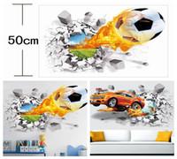 Wholesale Glass Background - Wall Sticker 3D Firing Football Sticker Firing Basketball Car Balls Collection Decal For Home Decor Sofa Background DDA241