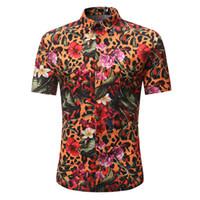 цветок шорты мужчины оптовых-Леопард Полосатый принт рубашки цветы старинные мужчины блузка хип-хоп мальчик партия носить с коротким рукавом Blusa летний пляж повседневная топы 3XL