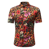 erkek parti gömleği toptan satış-Leopar Çizgili Baskı Gömlek Çiçekler Vintage Erkekler Bluz Hip Hop Boy Parti Giyim Kısa Kollu Blusa Yaz Plaj Rahat 3XL Tops